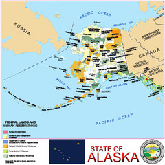 Alaska USA lands name location map background