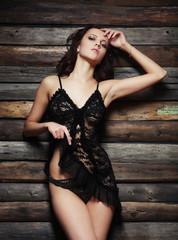Fashion Model In Black Lingerie