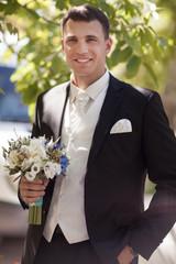 Handsome groom at wedding day