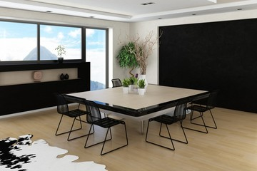 Modern spacious interior with huge dining table