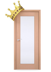Gold crown on a wooden door