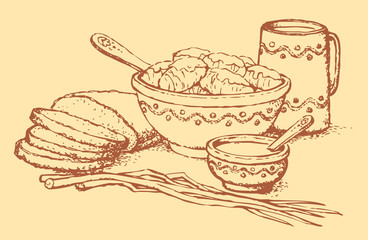 Vector still life. Cabbage rolls with cream, bread and leeks