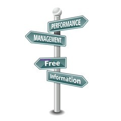 PERFORMANCE MANAGEMENT icon as signpost - NEW TOP TREND