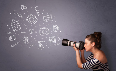 Photographer girl shooting photography icons