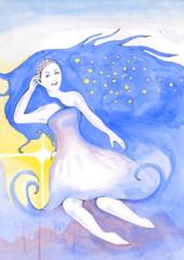 magic girl of long blue hair
