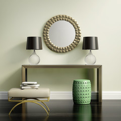 Chic elegant contemporary console table on lime wall