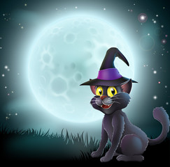 Halloween full moon witch cat