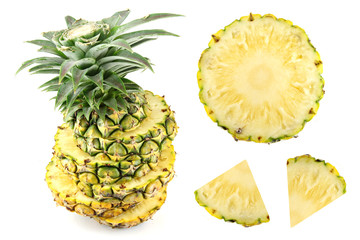 Pineapple Slice on white background.