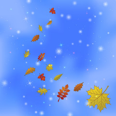 Abstract background with leaves on sky