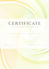 Colorful Diploma / Certificate template (design). Guilloche