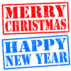 Merry christmas, and happy new year stamps