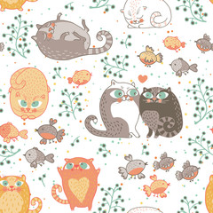 Romantic seamless pattern with cats and birds in vector