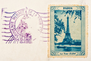 vintage stamp with Eiffel Tower Paris