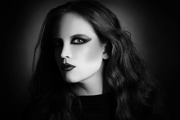 Gothic woman fashion portrait in black and white