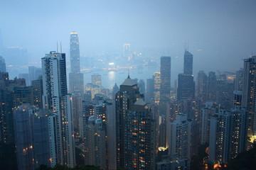 Hong Kong Victoria Harbor at night.