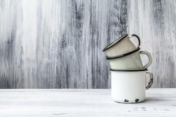 art still life cup mug tin wooden vintage