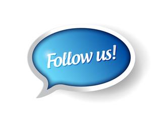 follow us message communication bubble