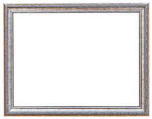 silvered ancient narrow picture frame