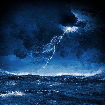 Thunderstorm in sea