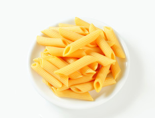 Cooked penne pasta