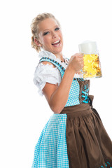 Blonde Frau mit Maßkrug