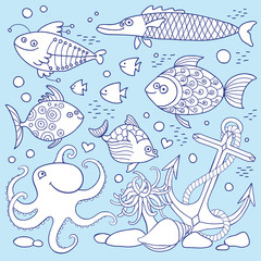 Illustration of underwater life