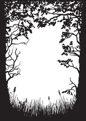 Illustration of a silhouette of trees and grass.
