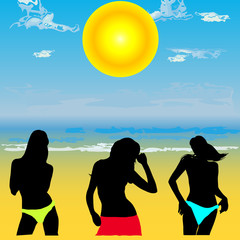 girls on the beach vector illustration
