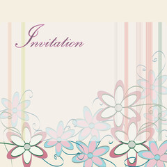 Wedding Invitation Template. Party Card Design with Flowers