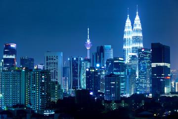 Photo sur Aluminium Kuala Lumpur Kuala Lumpur skyline at night