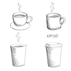 Sketching of variety of coffee cup