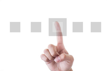 Human Hand Pointing squares Over White Background