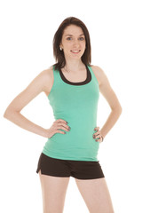 green tank fitness stand smile