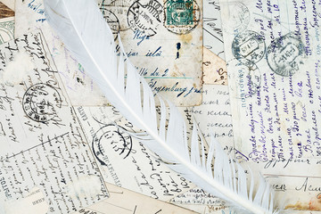 old letters and a quill