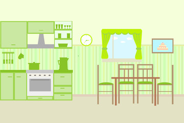Illustration of kitchen with kitchen furniture