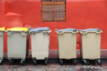 Garbage containers in Seville, Spain
