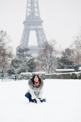 Happy young enjoying beautiful snowy day