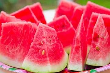 slices of fresh juicy watermelon