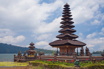 Temple Ulun Danau on Bratan Lake in Bali.