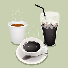 Hot Coffee and Iced Coffee on Green Background