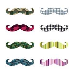 Mustache Design Vector Set / colorful pattern