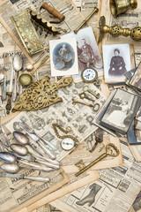 Antique goods prepared for sale on the flea market