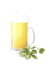Bierglas und Hopfen