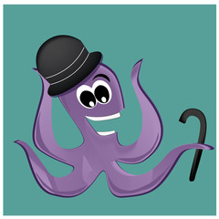 happy octopus with hat