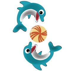 Fond de hotte en verre imprimé Dauphins two happy dolphins