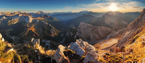 Printed kitchen splashbacks Gray traffic Mountain sunset panorama landscape - in Italy Alps - Dolomites