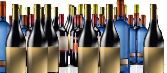 tante bottiglie di vino su fondo bianco