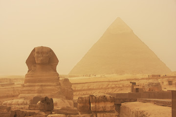 Printed kitchen splashbacks Egypt The Sphinx and Pyramid of Khafre in a sand storm, Cairo