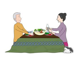 シニア夫婦の冬の食事