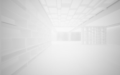 Abstract interior. Stylish white shelves on a white background